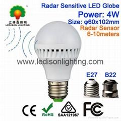 Motion Sensor LED Globe Bulb Light E27 B22 4W 85-265V