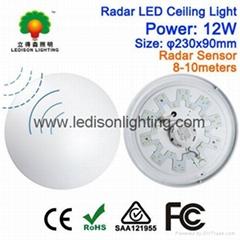 230mm Microwave LED Ceiling Light Bulb with Motion Sensor 12W 85-265V Input