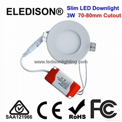 CE SAA Approved Slim LED Downlight Round LED Panel Light 3W 70mm Cutout