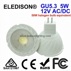 CE SAA Approved 5W MR16 GU5.3 LED 12v COB Spotlight 450LM 50x50mm Bulb