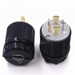 美式三相四線插頭NEMAL14-30P美規鎖式插頭 防松連接