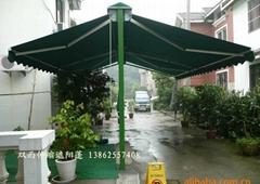 雙面伸縮雨篷 遮雨棚訂做戶外遮陽棚蘇州雨蓬