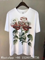 Wholesale Men Gucci Head Logo T-shirt Gucci Cotton Wolf snake Washed T-shirts  10