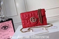 Women Gucci GG soft Leather Chain Shoulder handbags shiny metal combination bag