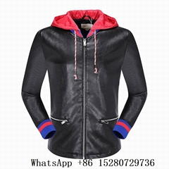 Men's Gucci Leather Bomber Jacket with Hoody Gucci Coat casual Black color