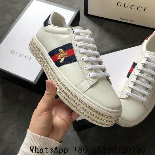 e540529a460 Women Gucci Ace Bee-Embroidered Leather Sneaker Gucci Ace Snake ...