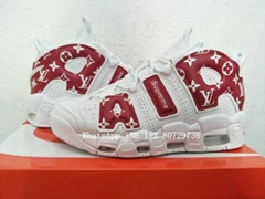 Wholesale Supreme X Louis Vuitton Nike Air More Uptempo white Red basketball sho