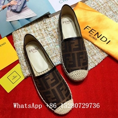 2018 Fendi Pequin Striped Espadrilles flat Fendi LOGO black brown FREE SHIPPING