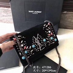 Ysl Saint Laurent Classic Medium Monogram College Bag Uitramarine Matela black