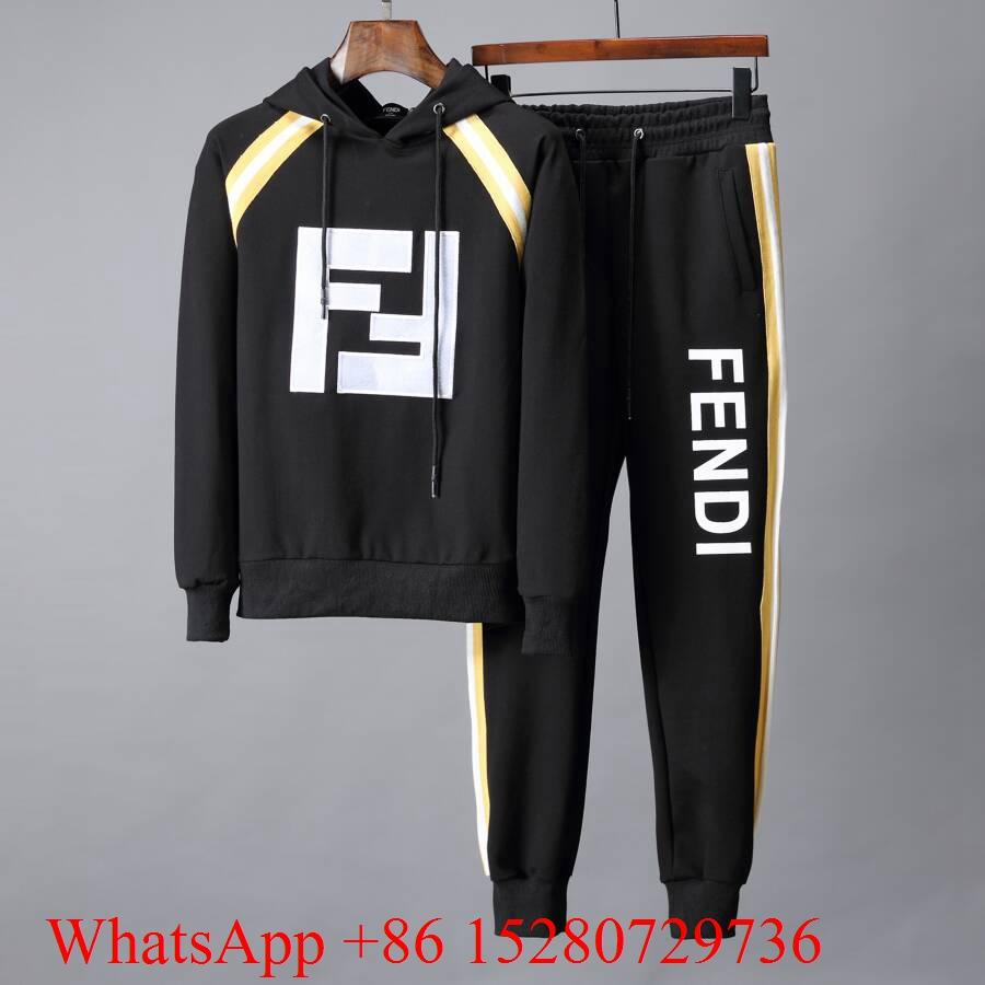 Fendi Tracksuit Fendi Logo Jacquard Tape-Trimmed sweatshirts Fendi jogging suits