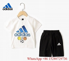 Adidas Children short suit Crew sports suit Kids Three Stripes Suits summer Tee