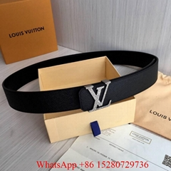 Men LV belts 40mm LV Reversible belts Black Taiga Calf leather belt Initiales