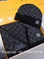 Wholesale LV Damier Graphite wool scarf and hat set lv Damie scarf for sale gift