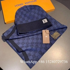 Wholesale    Damier Graphite wool scarf and hat set    Damie scarf for sale gift