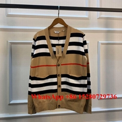 Wholesale Women Burberry sweater Burberry Stripe Merino Wool Cardigan knitwear