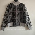 Fendi FF Logo Knit sweater Women's Fendi Jacquard sweater roll neck brown sale