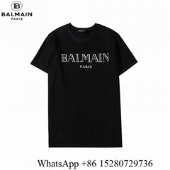 2020 New Balmain T-shirts Balmain Men's Logo Crewneck T-shirts white/black sale (Hot Product - 3*)