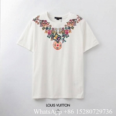2020 New Louis Vuitton Colorfull logo T-shirts LV Crew Neck cotton printed shirt