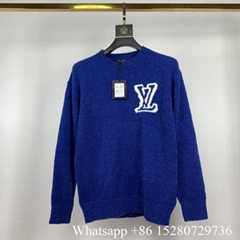 LV intarsia Crewneck Sweatshirt LV Multicolor Monogram sweater LV knitwear blue
