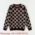 Newest Check Merino Check Jacquard Sweater Men's Knitted sweatshirts Knitwear