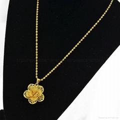 24K鍍金鏤空玫瑰花吊墜 歐幣項鏈首飾 2015 創意 會銷禮品批發 修改
