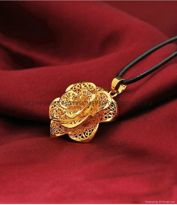 24K鍍金鏤空玫瑰花吊墜 歐幣項鏈首飾 2015 創意 會銷禮品批發 修改 4