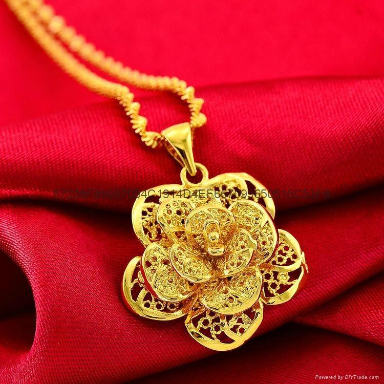 24K鍍金鏤空玫瑰花吊墜 歐幣項鏈首飾 2015 創意 會銷禮品批發 修改 5