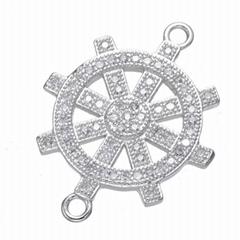 銅微鑲鋯石 鍍金輪船方向盤 船
