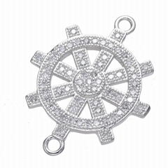 铜微镶锆石 镀金轮船方向盘 船
