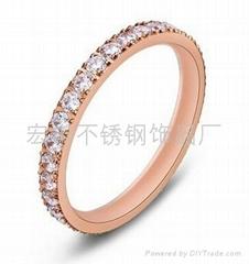 時尚韓版玫瑰金滿鑽戒指