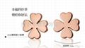 韩国时尚玫瑰金四叶草耳钉 3