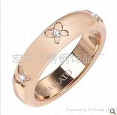 玫瑰金蝴蝶镶钻戒指