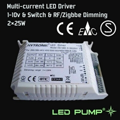250~700mA Multi-current LED Driver(2×25W) with 1-10V & Switch Dimming Function