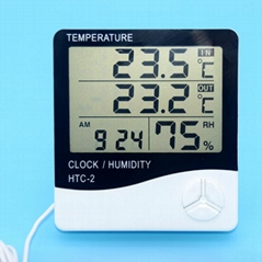 Indoor Outdoor Digital thermometer hygrometer/lcd humidity thermometer With Alar
