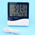 Indoor Outdoor Digital thermometer hygrometer/lcd humidity thermometer With Alar 2