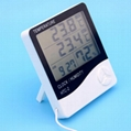 Indoor Outdoor Digital thermometer hygrometer/lcd humidity thermometer With Alar 3