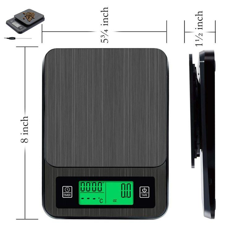 USB Electronic Coffee Scale with Timer and Thermometer BST-K308 3