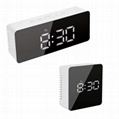 Hot selling popular Digital led Mirror Alarm Clock USB Charging Tabletop electro