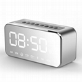 Hot Selling popular LED mirror time Clock Bluetooth Speaker FM Radio