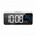 New LED Digital mirror alarm clock USB charging tabletop LED music clock