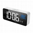 New LED Digital mirror alarm clock USB charging tabletop LED music clock
