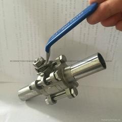 卫生级加长自动焊球阀3PC不锈钢与钢管焊接