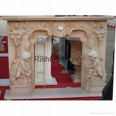 Egypt beige marble carved fireplace mantel