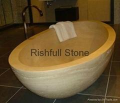 yellow travertine stone bathtub