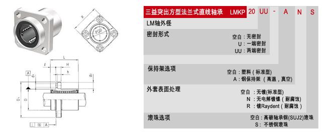 LMKP三益突出方形法兰式直线轴承 3