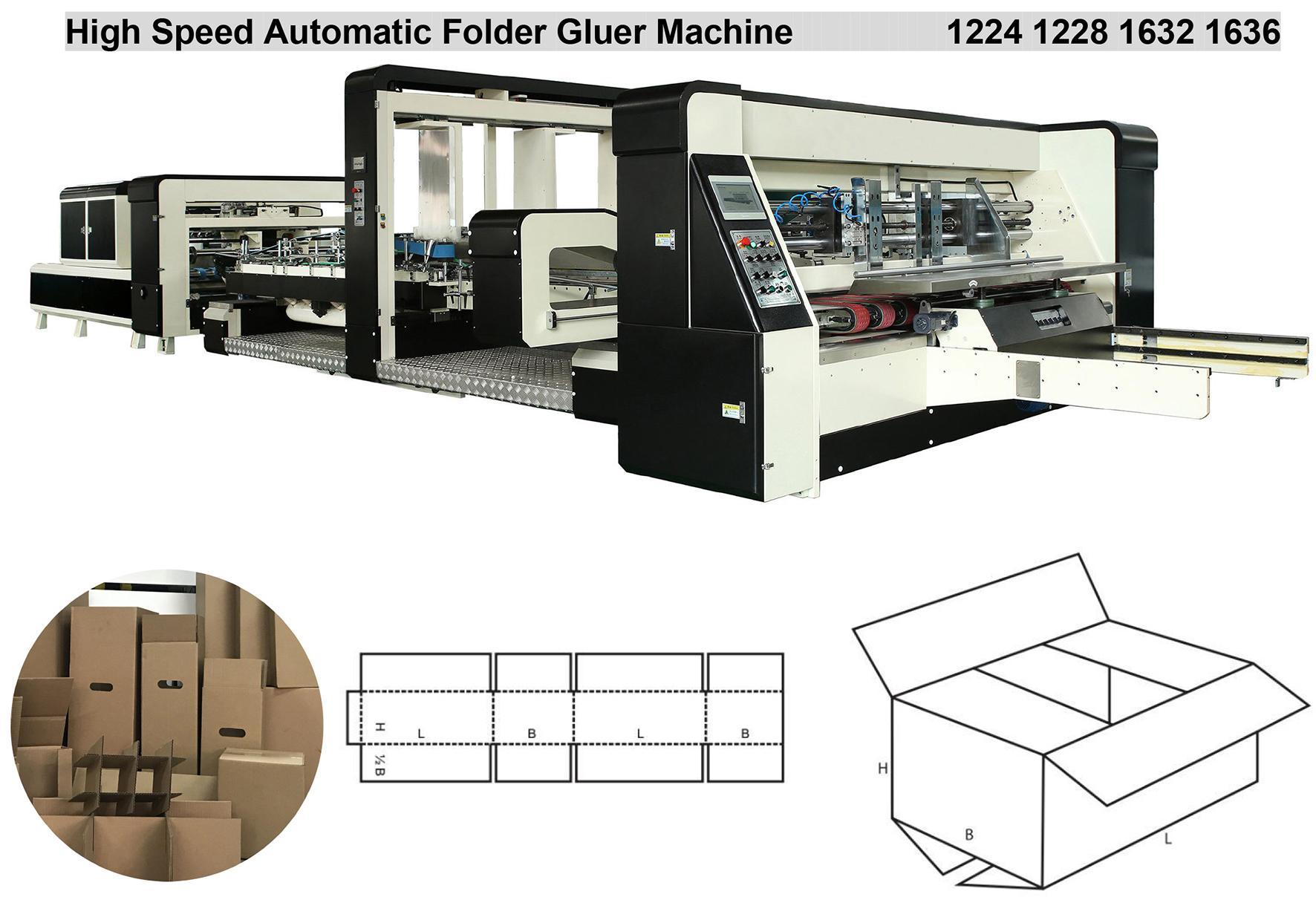 Corrugated carton box folding and gluing machine for carton box making 1224 2