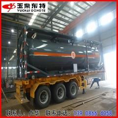 氯化氫鹽酸鋼襯塑罐式集裝箱20英呎