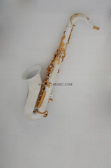 Professional Bb Tenor Saxophone Porcelain White Body and Satin Gold Keys