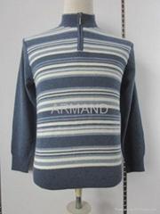 条纹羊绒套衫