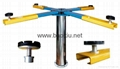 Pneumatic and hydraulic single post car